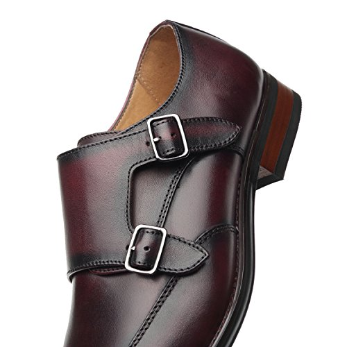 Comfortable La On Business Milano For burgundy Monk Oxford Leather Loafer Mens Men Slip Wing Dress Shoes Casual 1 Wingtip Double Strap Formal qn6Yqpwr