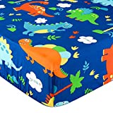 Crib Sheet UOMNY 100% Natural Cotton Baby Coverlet Toddler Sheet Set for Baby Boys and Girls 1 Pack Dinosaur