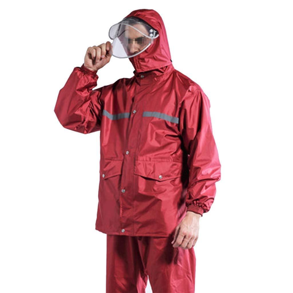 rouge Wine XL JIJIHAO Yuyi Costume Homme Imperméable épaississeHommest Corps Imperméable Imperméable Imperméable Chapeau Double Couche Détachable Vélo Vélo Chaud