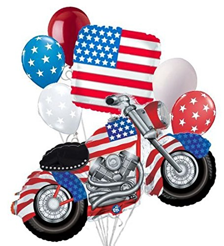 7 pc Patriotic Motorcycle American Flag Balloon Bouquet USA 4th July Veteran Day - Bouquet Flag