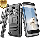 phone cases for a lg slide phone - LG Tribute Dynasty Case (SP200), LG Aristo 2 (X210), LG Zone 4 Case with [Full Cover Tempered Glass Screen Protector], NageBee [Heavy Duty] Shock Proof [Belt Clip] Holster Kickstand Case -Black