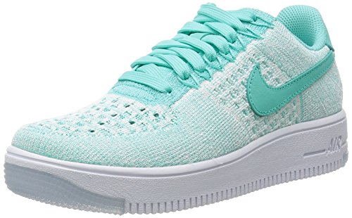Nike Womens AF1 Air Force 1 Flyknit Low Running Trainers 820256 Sneakers Shoes (US 6.5, hyper turquoise 300) (Nike Air Force One Wedge Sneakers)