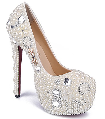 White Beaded Pumps Platform Wedding Women's Flowers Evening Stiletto Rhinestones Dress TDA Studded Party 5pq7px