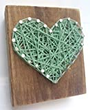 Sweet and small rustic wooden aqua string art heart block. Unique gift Easter baskets, for Father's Day, Weddings, Anniversaries, Birthdays, Christmas, housewarming and just because gifts.