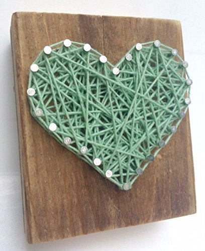 Sweet and small rustic wooden aqua string art heart block. Unique gift Easter baskets, for Father's Day, Weddings, Anniversaries, Birthdays, Christmas, housewarming and just because gifts. by Nail it Art (Image #8)