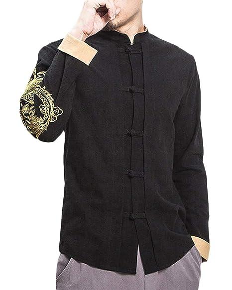 QitunC Hombres Impresión Manga Larga Camisa Chaqueta Mezcla de Lino Abrigos Retro Estilo Chino Negro S