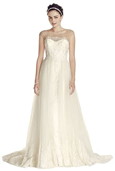 ffbb3d2e70cf Oleg Cassini Cap Sleeve Tulle A-line Wedding Dress Style CWG713 at Amazon  Women's Clothing store: