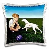 Digital Paint Children - Boy with Pet Dog - 16x16 inch Pillow Case