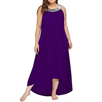 caab29169266 Amazon.com  Women s Casual Plus Size Squin Glitter Loose Long Dress ...