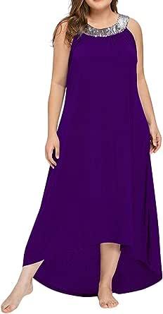 YEBIRAL Mujeres Gran Tamaño Casual Vestido Maxi de Fiesta Color SóLido Suelto Sin Mangas con Cuello Redondo para Mujer Vestido Largo