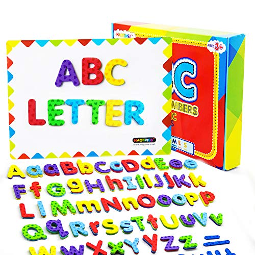 MAGTIMES Magnetic Letters and Numbers, Fun Alphabet Kit for Kids, ABC Educational Toys, Refrigerator Magnets with Dry Erase Magnetic Board Preschool Toy - 112PCS