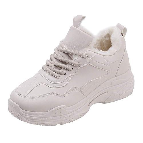 Las Mujeres Se Calzan Las Zapatillas De Deporte De AlgodóN De Invierno CláSico Simple Felpa Tela De AlgodóN Poco Profunda con Cordones Zapatos De Alpargatas ...