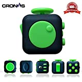 Premium Fidget Cube - Anxiety Fidgeting Stress Relief - Ultimate Sensory Desk Toys for Everyone - 6 Audible and Tactile Features -Bonus Exclusive CronosGear Focus System eBook (Monster Green)