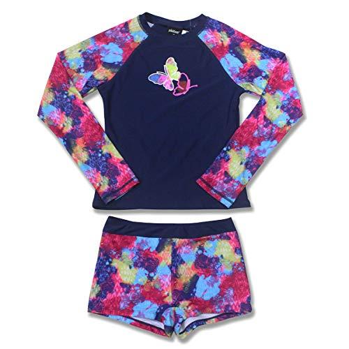 PHIBEE Girls' Rash Guard Set Long Sleeve UPF 50+ Sun Protection Two-Piece Swimwear Navy 8 ()