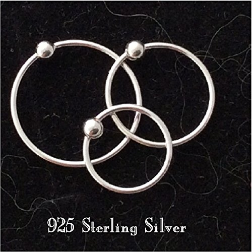Nose Rings,Set of Three,Sterling Silver, 8mm,10mm,12mm,captive bead, for lip,eyebrow, cartilage,ears,nose body piercing Ear Captive Bead Eyebrow Rings