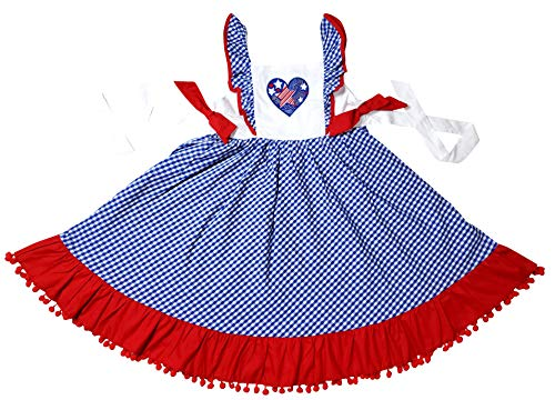 (Angeline Toddler Girls 4th July Patriotic I Heart America Red White Blue Pom Pom Dress 3T)