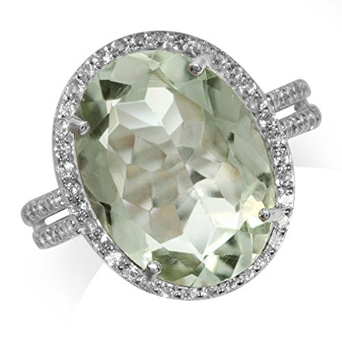 HUGE 6.8ct. 16x12MM Natural Oval Shape Green Amethyst & White Topaz 925 Sterling Silver Ring Size 8 - Green Amethyst Fashion Ring