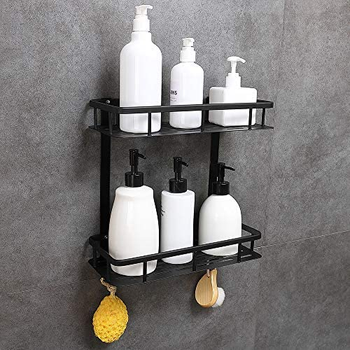 GERUIKE Bathroom Shelf 2-Tier Square Wall Mounted Space Aluminum Shower Storage Organizer Rack Adhesive No Rust No Damage
