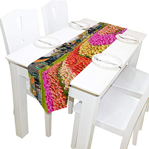 Table Linens Picturesque Windmill Modern Table Runner Farm Tablecloths for Kitchen Outdoor Restaurant Decor Place Mats Table Toppers 13x90 Inch -
