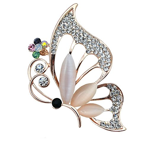 (Reizteko Brooch Lapel Pin Shawl Clip Corsage in Crystal Rhinestone Alloy, Jewelry Gift for Women Men (Butterfly)
