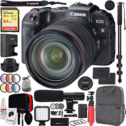 Canon EOS RP Full-Frame Mirrorless Digital Camera Body with RF 24-105mm F4 L is USM Lens Kit and Deco Gear Photo Video Pro Backpack Case Extra Battery Microphone and 72″ Monopod Bundle