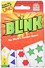 Blink is the lightning-fast game where two players race head-to-head to be the first to play all of their cards! Using sharp eyes and fast hands, players quickly try to match the shape, count or color on the cards. For instance, a card with f...