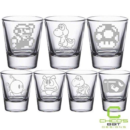 Super Mario Bros - Mario, Goomba, Yoshi, Mushroom, Bullet Bill, Bob-omb, Koopa Troopa shot glasses