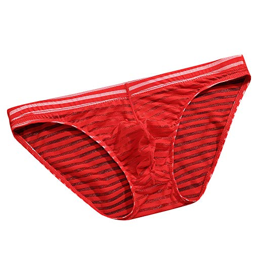 YKARITIANNA Men's Underwear Striped Underwear Underwear Seamless Panties Underwear Ice Silk Erotic Hot Underwear Red