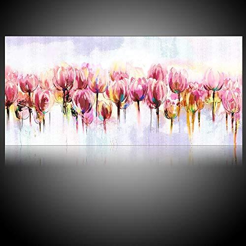 OilYY Pinturas al oleo pintadas a Mano Arte De La Pared Lienzo Pinturas De Acuarela Tulipan Pinturas Al Oleo Florales Flores De Tulipan Rosa Lienzo Cuadros Modernos De La Pared