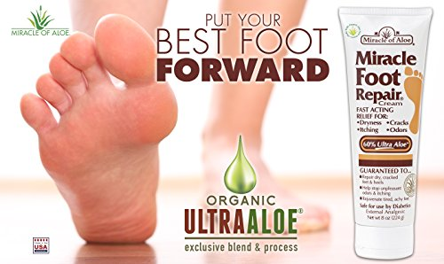 Miracle Foot Repair Cream 8 oz - 2 Pack with 60% Pure Organic Aloe Vera Softens Dry Cracked Feet by Miracle of Aloe (Image #2)