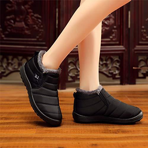 Bottes Casual Femme Bottines Hiver Baskets 43 Noir Chaussures Mode Fourrees De Boots 35 Doublure Rouge Courts Bleu Neige Chaude 50HHW8qOr