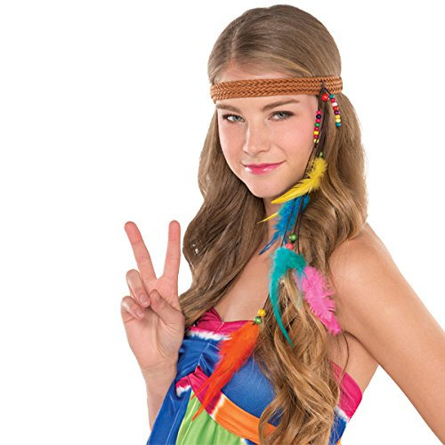 Amscan Groovy 60's Hippie Headb& Accessory Fabric Costume for Girls (6 Piece), (Toddler Groovy Girl Hippie Costumes)