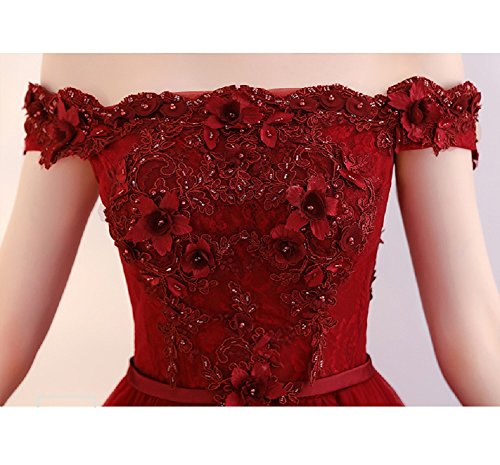 Ballkleier 36 Damen Elegantes Linie Abendkleider Tüll Sptize Ab für A Perlen Schwanger Schulter Lila Bodenlang Burgund Langes Größe w66caUq7