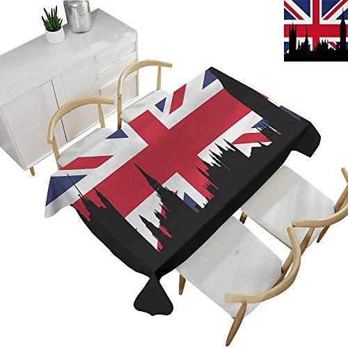 Union Jack,Outdoor Tablecloth Houses of The Parliament Silhouette on UK Flag Historic Urban Skyline Polyester Washable Table Cover Royal Blue Black Red 60