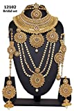 Womens Fashion Style Golden Plated Polki Crystal Stone Indian Necklace Earrings Bridal Set Partywear Jewelry