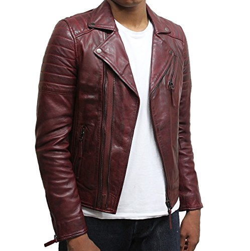 Brandslock Mens Slim Fit Cross Zip Retro Vintage Brando Real Leather Jacket Vintage Biker Designer Style (Small, (Cross Leather Jacket)