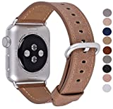 Peak Zhang Compatible Apple Watch Band 42mm, Men Women Caramel Vintage Genuine Leather Replacement Iwatch Strap Silver Metal Clasp Compatible Apple Watch Series 3 2 1 Sport Edition(Brown)