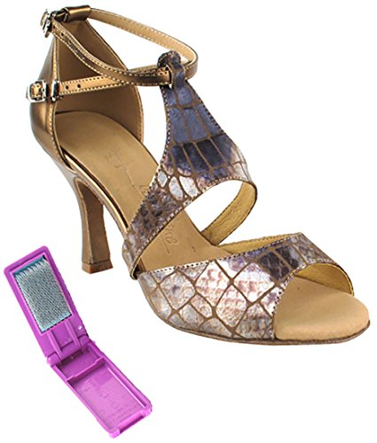Very Fine Ballroom Latin Tango Salsa Dance Shoes for Women SERA7004 3 Inch Heel + Foldable Brush Bundle Copper 9CR6jl