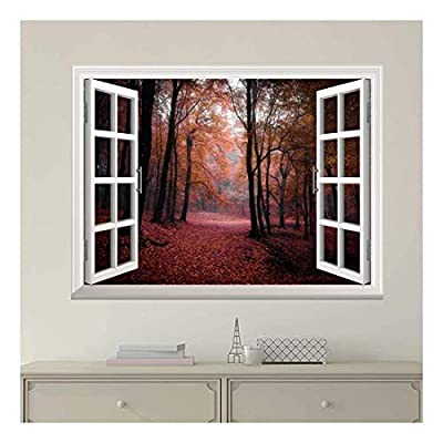 White Window Looking Out Into a Red Road That Leads to an Orange Forest Wall Mural, Made With Top Quality, Amazing Work of Art