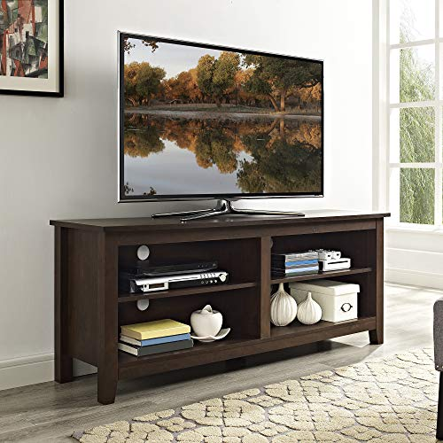 """Walker Edison Furniture Company Minimal Farmhouse Wood Universal Stand for TV's up to 64"""" Flat Screen Living Room Storage Shelves Entertainment Center, 58 Inch, Traditional Brown"""