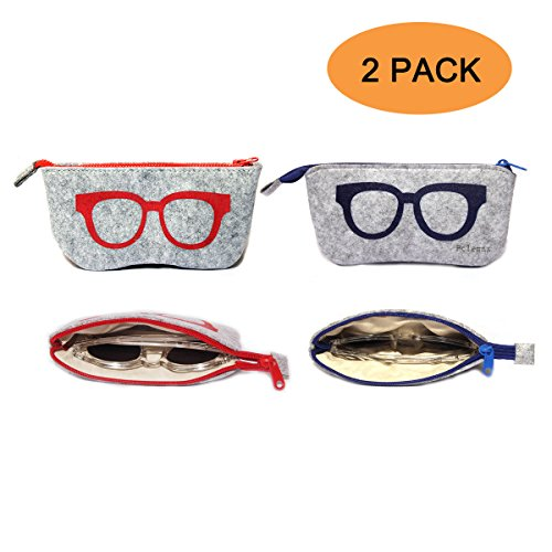 2 Pack Eyeglass Case Pouch,Portable Soft Felt Sunglasses Case Thicken Inside (Thicken Inside Style Red - For 1 Eyeglasses 2