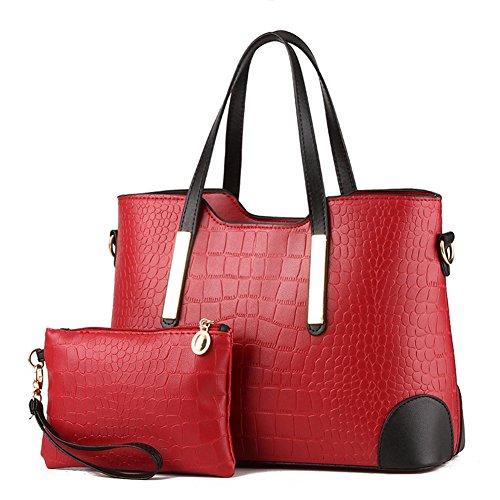 (Pahajim PU leather women top handle satchel handbags tote purse Crocodile handbag (wine red) )