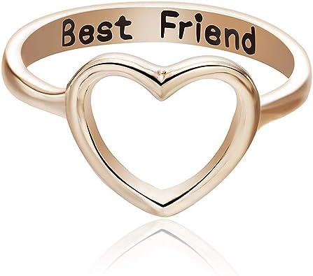 Amazon Com Yooe Anillo De Corazón Hueco Para Mejor Amigo Pulido Con Forma De Amor Inglés Regalo Para Hermana Aleación Jewelry