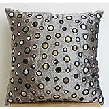 Yaoni Handmade Grey Silver Pillow Case, Contemporary Polka Dot Throw Pillows Cover, Pillow Cover 12''x12'', Velvet Square Throw Pillows Cover, Mirror Pillowcase - Mirror Shimmer