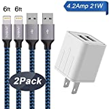 iPhone Charger, JAHMAI 4.2A Fast Charging Portable Home Travel Wall Charger with 6FT 2PACK Durable Nylon Braided Lightning to USB Cable Charging Cord for iPhone X/8/7/6S/6/Plus/5S/SE/5C/5/iPad