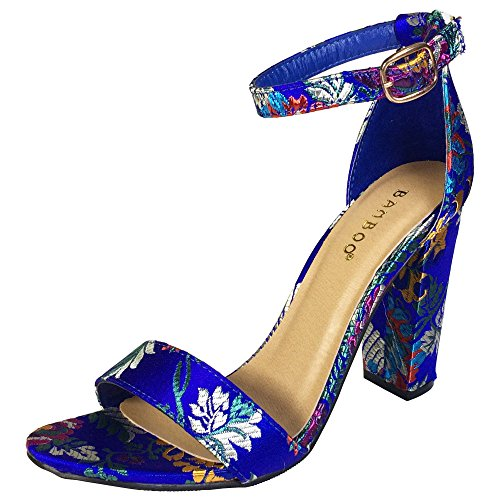 Sandalo Con Tacco Grosso In Bambù Da Donna Con Cinturino Alla Caviglia, Broccato Blu Floreale