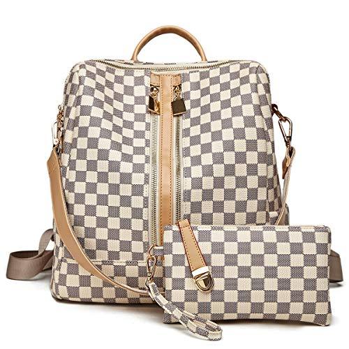 Backpack for women Fashion Leather Ladies Rucksack Crossbody Shoulder Bag 2pcs Purses Backpack Set (White-01)