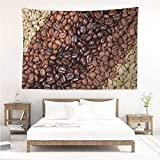 Kitchen,Cute Tapestry Selection of Fresh Roasted and Unroasted Coffee Beans in a Diagonal Stripe Pattern 60W x 51L inch 3D Nature Wall Hanging Brown Cream