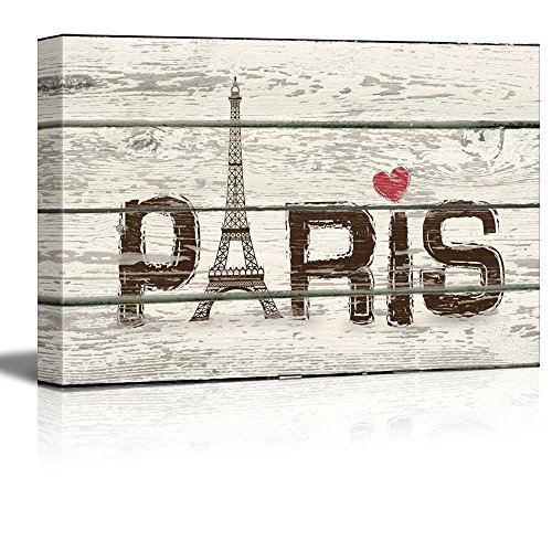Paris WoodCut Print with Pink Hear Artworkt Rustic