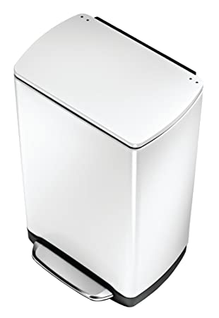 simplehuman widestep rectangular step trash can white steel 38 l 10